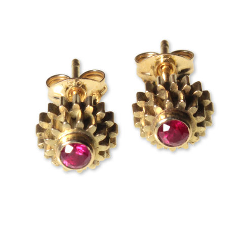 Ruby,Cog,Stud,Earrings
