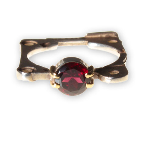 4/2,Ring,,Garnet,anastasia young, ring, silver, garnet, industrial, gemstone, tube setting