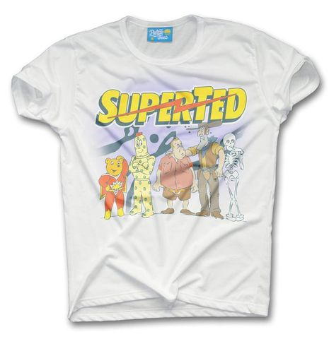SuperTed,Cast,T-shirt,-,Unisex,super ted spotty texas pete teddy bear cartoon super hero retro t shirt 80s tee