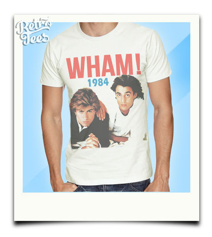 Men's,WHAM,T-Shirt,-,Vintage,White,80s music wham George Michael andrew ridgeley choose life retro t shirt