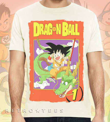Men's,DRAGONBALL,T-Shirt,Featuring,Manga,Cover,Poster,-,Vintage,White,Manga Dragonball dragon ball anime fan T shirt