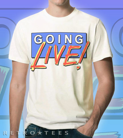 Mens,Going,Live,Logo,T-shirt,Saturday morning tv, bbc, schofield, sarah greene, trevor and simon, saturday morning