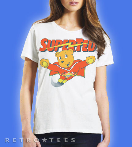 Ladies,SUPERTED,Retro,Cartoon,T-shirt,-,Vintage,white,80s TV  superted  spotty super ted t-shirt cartoon fan