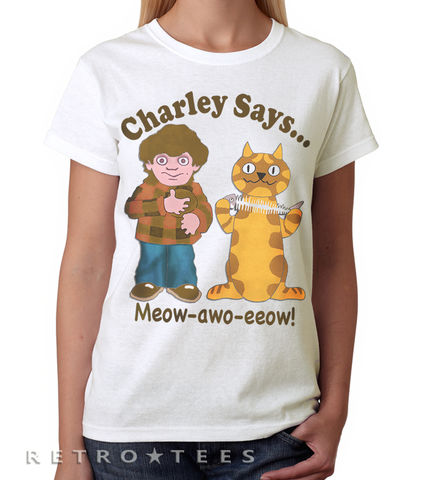 Ladies,CHARLEY,SAYS,T-shirt,-,Vintage,white,70s TV advert, 80s TV advert, charley says, Charlie says, public information film, charley says t-shirt, Charlie says t-shirt, retro TV advert
