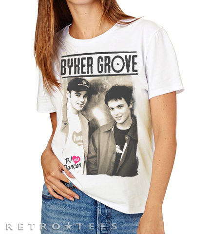 Byker,Grove,Inspired,-,Ladies,PJ,And,Duncan,Poster,T-shirt,byker grove pj and duncan Ant Dec tv retro lets get ready rumble,saturday night takeaway t shirt