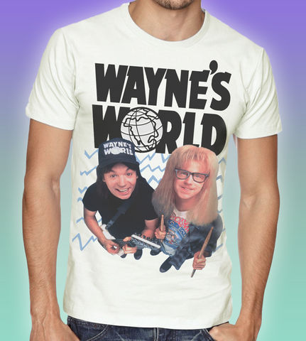 Wayne's,World,T-shirt,-,We're,not,worthy!,Wayne's World 80s retro tees movie film fan t shirt