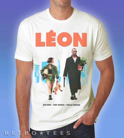 LEON,Movie,Poster,Mens,T-shirt,Leon 80s retro t-shirt movie film fan shirt