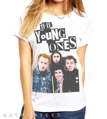 Ladies,The,Young,Ones,T-shirt,-,Vintage,white,80s TV  the young ones rik mayal peoples poet fan t shirt