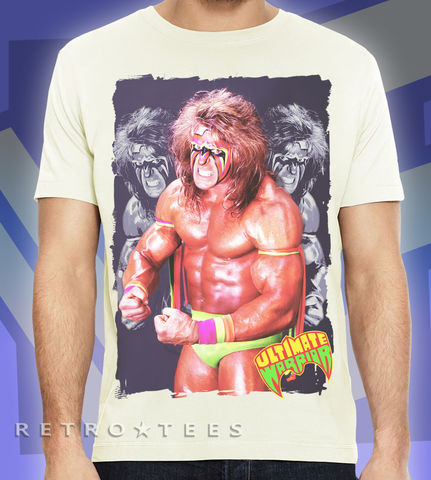 MEN'S,ULTIMATE,WARRIOR,T-shirt,-,VINTAGE,WHITE,Ultimate Warrior WWF Wrestling TV Retro 80s t-shirt