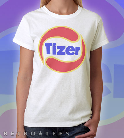 Ladies,TIZER,Logo,T-shirt,-,Vintage,white,80s brands retro drink Tizer Fizzy pop t-shirt