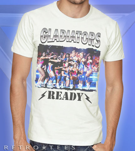 Men's,Awesome,Gladiators,Ready,T-Shirt,-,Vintage,White,80s TV t-shirt  Gladiators Ready Jet Wolf Retro Gladiator Fan Gift