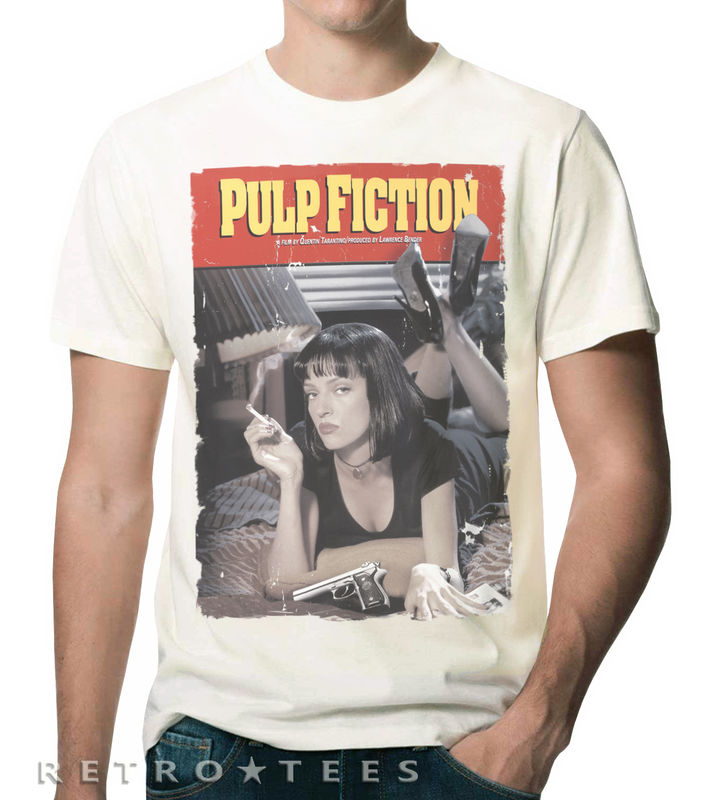 MEN'S Classic PULP FICTION Movie Poster T-shirt - VINTAGE WHITE - product images  of