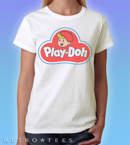 Play,Doh,Logo,Ladies,T-shirt,Retro tees brands   Play Doh Logo    80s shops  t-shirt