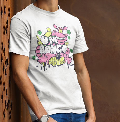Men's,UM,BONGO,HIPPO,T-Shirt,-,Vintage,White, um bongo they drink it in the congo fan gift retro t-shirt