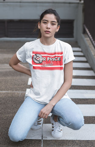 Ladies,OUR,PRICE,Records,T-shirt,-,Vintage,white,Retro brands   our price records    80s shops  t-shirt