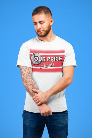 Men's,OUR,PRICE,Records,T-Shirt,-,Vintage,White,Retro,Tees,Retro brands   our price records    80s shops  t-shirt