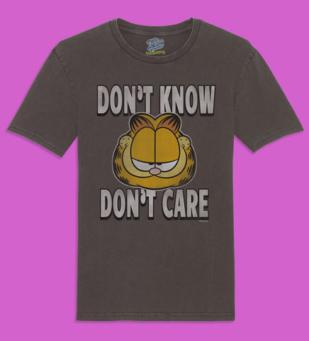 Garfield,-,Don't,Know,Care,Official,Licensed,Men's,T-Shirt,by,Famous,Forever,Garfield Friends Odie 70s 80s 90s retro vintage t shirt pizza lasagne lazy cool cat feline attitude Famous Forever