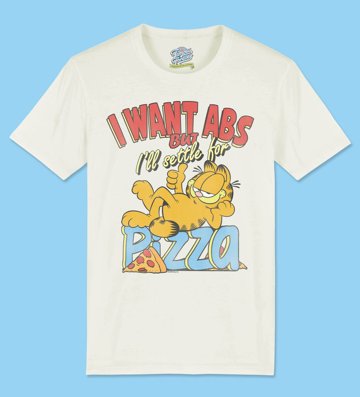 Garfield - I Want Abs But I'll Settle For Pizza - Official Licensed T-Shirt  by Famous Forever - product images  of