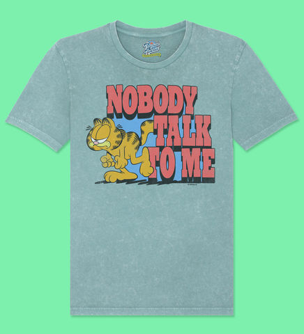 Garfield,–,Nobody,Talk,To,Me,-,Official,Licensed,T-Shirt,by,Famous,Forever,Garfield Friends Odie 70s 80s 90s retro vintage t shirt pizza lasagne lazy cool cat feline attitude Famous Forever