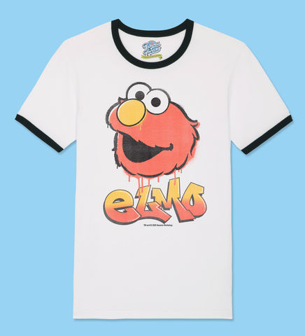 Sesame,Street,-,Elmo,Graffiti,Official,Licensed,T-Shirt,by,Famous,Forever,Sesame Street Friends Elmo Cookie Monster Big Bird 70s 80s 90s retro vintage t shirt  Famous Forever