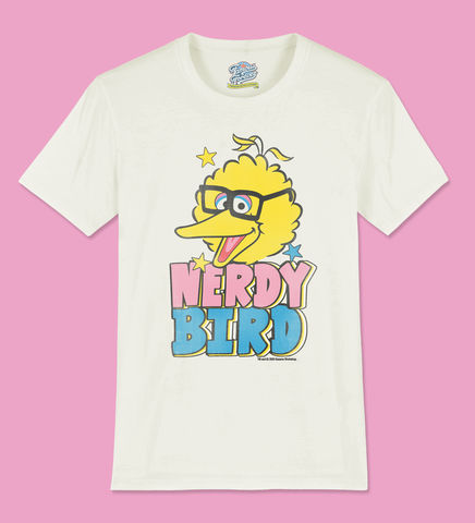Sesame,Street,–,Nerdy,Bird,-,Official,Licensed,T-Shirt,by,Famous,Forever,Sesame Street Famous Forever T shirt Big Bird 80s 90s 70s kids tv