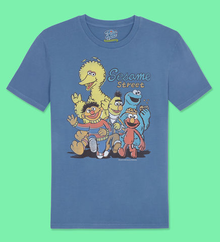 The,Sesame,Street,Gang,-,Official,Licensed,T-Shirt,by,Famous,Forever,Sesame Street Friends Bert Ernie Elmo Cookie Monster Big Bird 70s 80s 90s retro vintage t shirt  Famous Forever