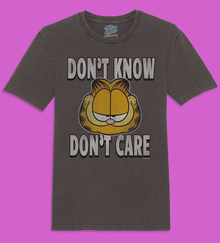 Garfield,-,Don't,Know,Care,Official,Licensed,Ladies,T-Shirt,by,Famous,Forever,Garfield Friends Odie 70s 80s 90s retro vintage t shirt pizza lasagne lazy cool cat feline attitude Famous Forever
