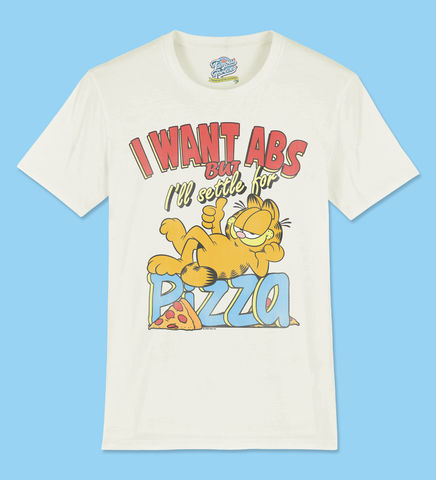 Garfield,-,I,Want,Abs,But,I'll,Settle,For,Pizza,Official,Licensed,Ladies,T-Shirt,by,Famous,Forever,Garfield Friends Odie 70s 80s 90s retro vintage t shirt pizza lasagne lazy cool cat feline attitude Famous Forever
