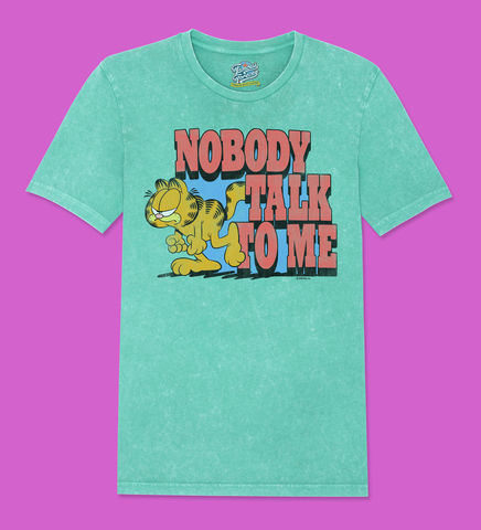 Garfield,–,Nobody,Talk,To,Me,-,Official,Licensed,Ladies,T-Shirt,by,Famous,Forever,Garfield Friends Odie 70s 80s 90s retro vintage t shirt pizza lasagne lazy cool cat feline attitude Famous Forever