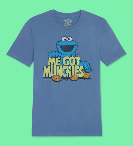 Sesame,Street,Cookie,Monster,–,Me,Got,Munchies,-,Official,Licensed,Ladies,T-Shirt,by,Famous,Forever,Sesame Street Friends Bert Ernie Elmo Cookie Monster Big Bird 70s 80s 90s retro vintage t shirt  Famous Forever