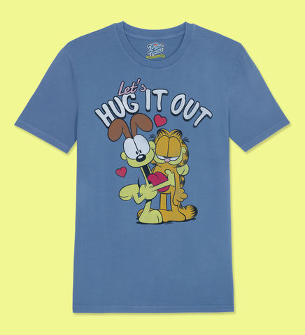 Garfield,–,Lets,Hug,It,Out,-,Official,Licensed,T-Shirt,by,Famous,Forever,Garfield Friends Odie 70s 80s 90s retro vintage t shirt pizza lasagne lazy cool cat feline attitude Famous Forever