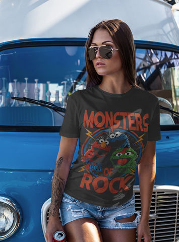 Sesame,Street,–,Monsters,Of,Rock,-,Official,Licensed,Ladies,T-Shirt,by,Famous,Forever,Sesame Street Friends Bert Ernie Elmo Cookie Monster Big Bird 70s 80s 90s retro vintage t shirt  Famous Forever