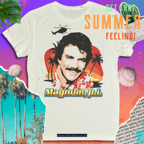 Magnum,P.I.,Men's,T-shirt,-,Featuring,Tom,Selleck,Magnum P.I Private Investigator Tom Selleck retro TV  mens t shirt