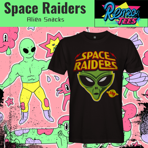 Space,Raiders,Men's,T-shirt,-,Alien,Snacks,crisps 10p retro space raiders Alien Snacks t shirt