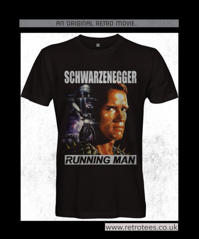 Men's,RUNNINGMAN,Movie,T-shirt,Running Man 80s tees t shirt Arnold Schwarzenegger arnie Stephen King