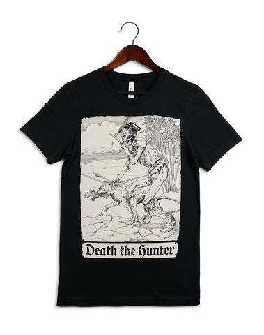 Death,the,Hunter,tshirt, t-shirt, death, grim reaper, la santa muerte, skull, dog, metal