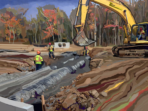 Pipes,concrete,cement,workers,Brad Burns,rebar,foundation,highways,drainage,freeways,heavy equipment