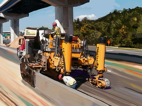 Barrier,concrete,cement,workers,Brad Burns,rebar,foundation,highways,drainage,freeways,heavy equipment,slip form paver