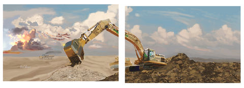 Quarry,Cats,Construction,Shore up, catapillar,heavy equipment,Construction equipment art,brad burns,caterpillar,caterpillar paintings,construction equipment artist,heavy equipment art,Concrete art,scraper art,dozer art,loaderart,excavator art,backhoe pa