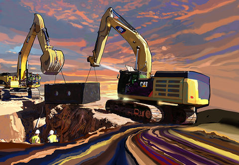 Trenchless,and,Cats,Construction equipment art,brad burns,caterpillar,caterpillar paintings,construction equipment artist,heavy equipment art,Concrete art,scraper art,dozer art,loaderart,trenchless,trenchless technology,trenches,trench,caterpillars,trenchless art,backhoe pai