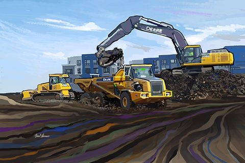 John,Deere,Trio,construction art,John Deere heavy equipment,John Deere tractor,heavy equipment,Brad Burns construction fine art