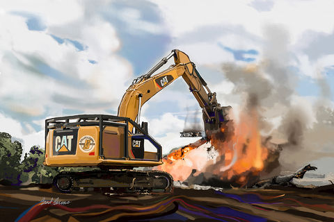 Fire,Cat,construction art, caterpillar heavy equipment,Caterpillar tractor,heavy equipment,Brad Burns construction fine art