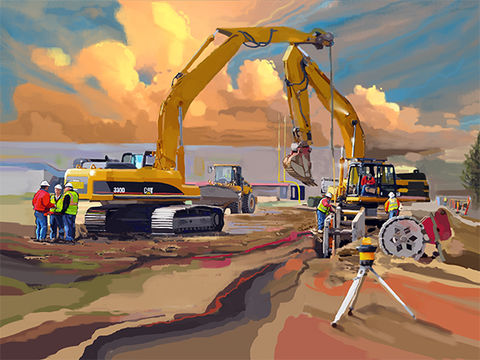 Cats,Two,construction art,construction art print,John Deere Backhoe Loader, america, trenches,caterpillar, catapillar,catapiller,trencher,construction artist, bulldozers, construction art, cement, concrete, concrete work, concrete workers, big iron, ironworkers, d