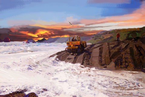 Jenner, sea, ocean, diesel, backfill, backhoe, beach, catapillar, heavy equipment, yellow, blue
