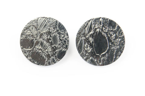 Black,Etched,'Skin',Stud,Earrings,-,25mm,skin, stud, earrings, leather, unique, bespoke, custom made