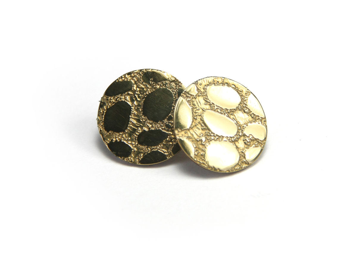 Gold Etched 'Skin' Stud Earrings - Med 20mm - product image