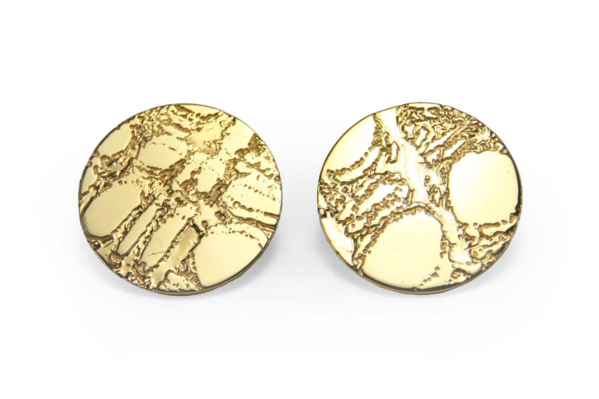 Gold Etched 'Skin' Stud Earrings - Lge 25mm - product images  of