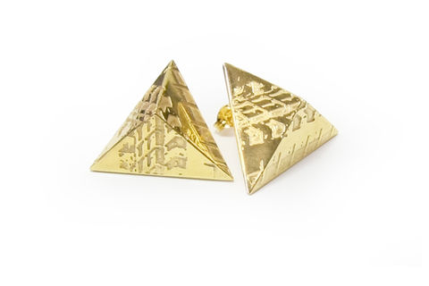 SOUVENIR,Pyramid,Stud,Earrings,-,LGE,london, souvenir, jewellery, earring, gold, silver, stud earring, designer, handmade