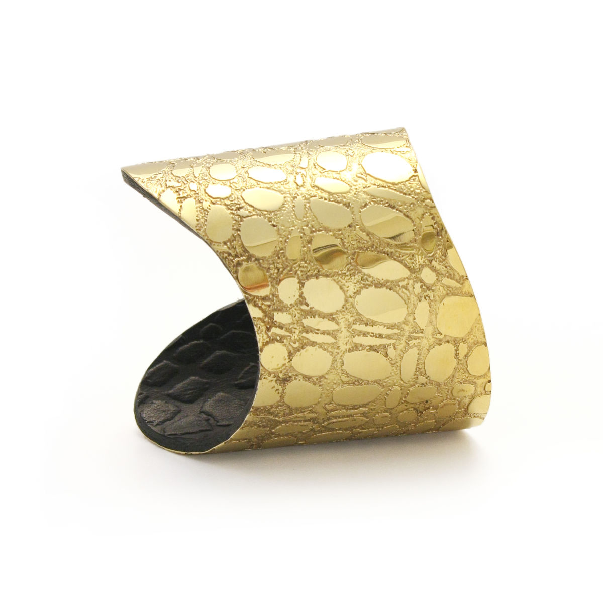 Skin Textured Gold & Black Etched Cuff (long) - Sara Gunn - product images  of