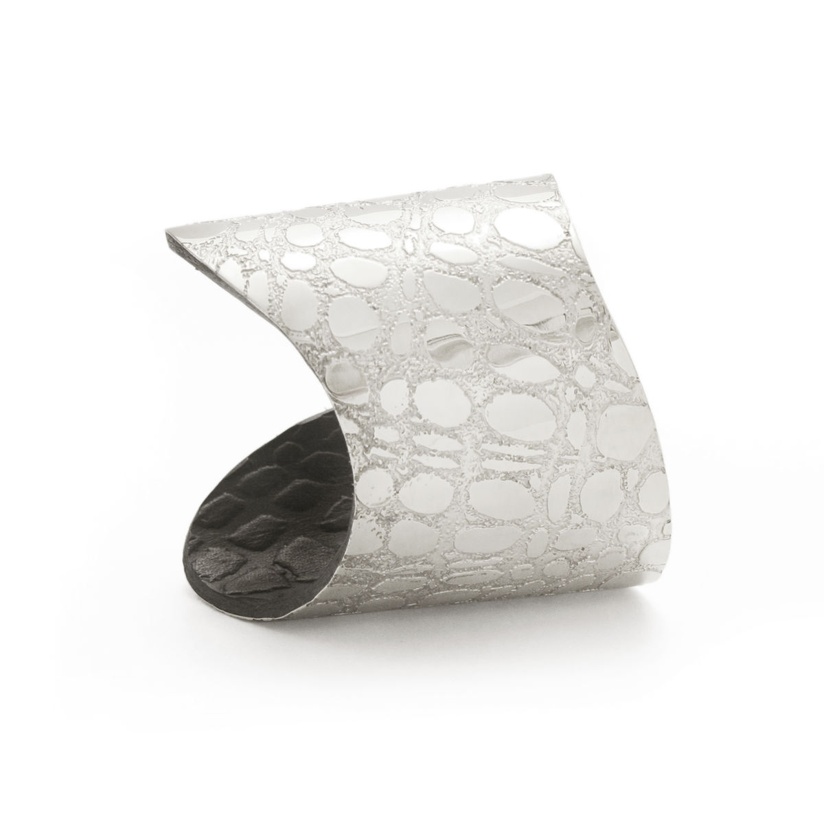 Skin Textured Silver & Black Etched Cuff (long) - Sara Gunn - product images  of